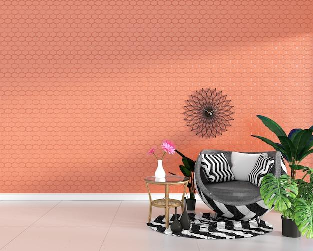 Sillón en el fondo anaranjado de la pared de la textura de la teja del hexágono, diseño mínimo, representación 3d.