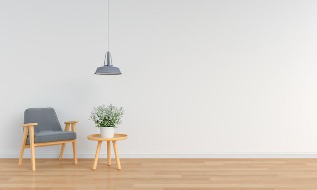 Sillón gris en sala blanca para maqueta