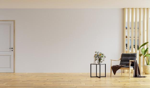 Sillón en el interior del apartamento moderno con pared vacía y mesa de madera, render 3d