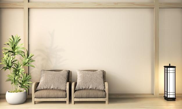 Sillón de madera estilo zen en la habitación zen piso de madera japonesa en pared blanca