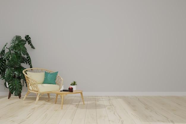 Sillón de madera en una sala gris