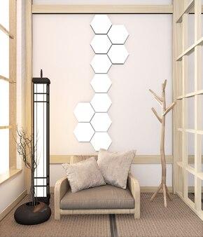 Sillón de madera sobre suelo de tatami y lámpara hexagonal en la pared habitación japonesa. renderizado 3d