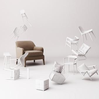 Sillón marrón rodeado de muchas pequeñas sillas blancas flotando