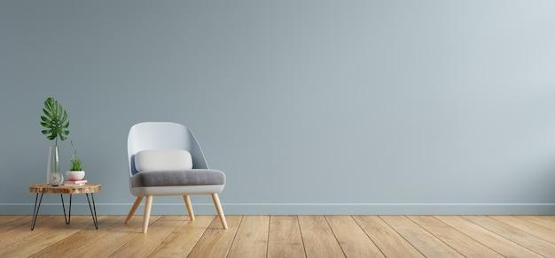 Sillón y mesa de madera en el interior de la sala de estar, pared azul representación 3d