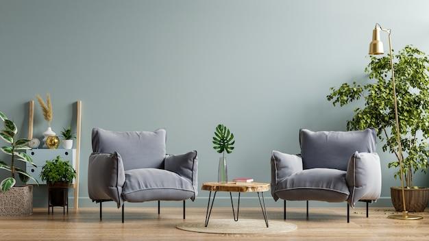 Sillón y mesa de madera en el interior de la sala de estar con planta, pared azul oscuro representación 3d