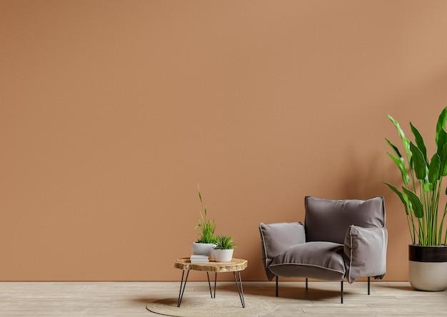 Sillón y mesa de madera en el interior de la sala de estar con planta, pared marrón oscuro representación 3d