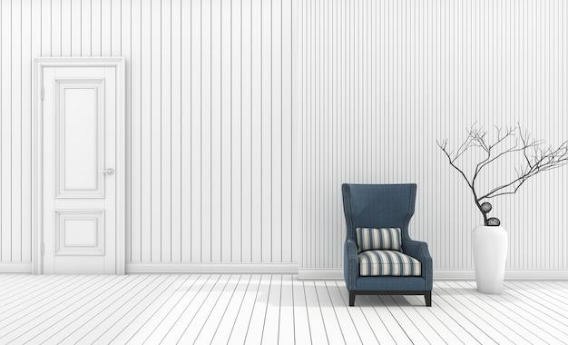 Sillón minimalista de renderizado 3d con jarrón blanco en sala de estar blanca