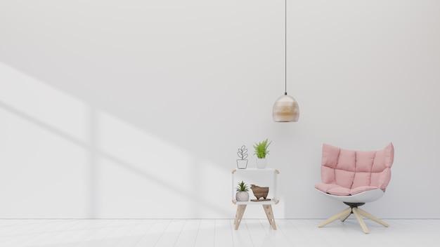 Sillón rosado con el gabinete en la sala blanca con la lámpara simple en la pared vacía.