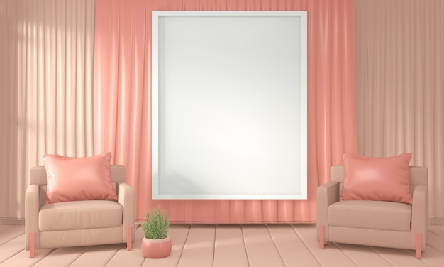 Sillón y sala de decoración color interior estilo coral vivo, representación 3d