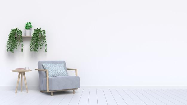 Sillón de sala de estar y plantas ornamentales con en el piso adyacente a la pared