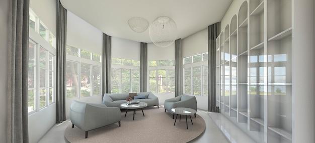 Sillón vintage renderizado 3d en habitación de lujo con ventana