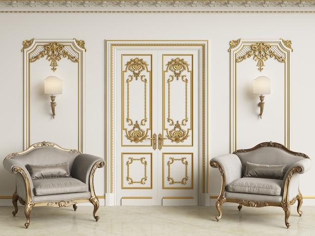 Sillones barrocos clásicos en interior clásico. paredes con molduras y cornisa decorada. piso de mármol. representación 3d