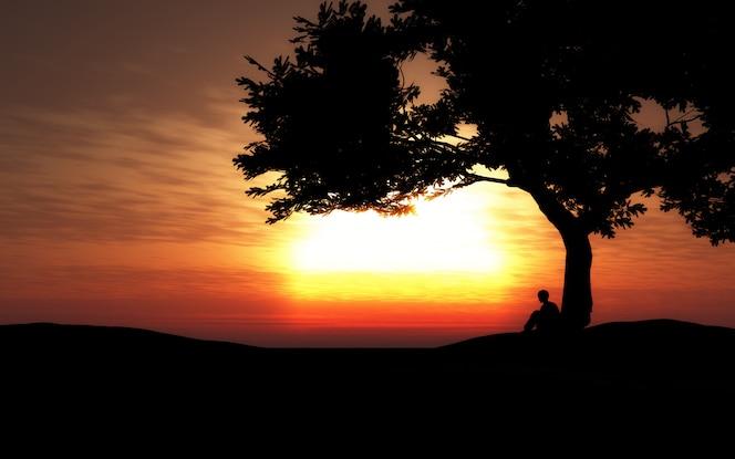 Silueta 3d de un niño sentado debajo de un árbol al atardecer