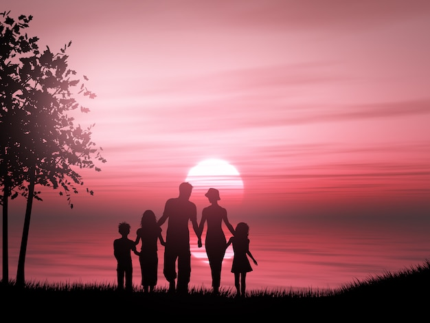 Silueta 3d de una familia contra un océano al atardecer