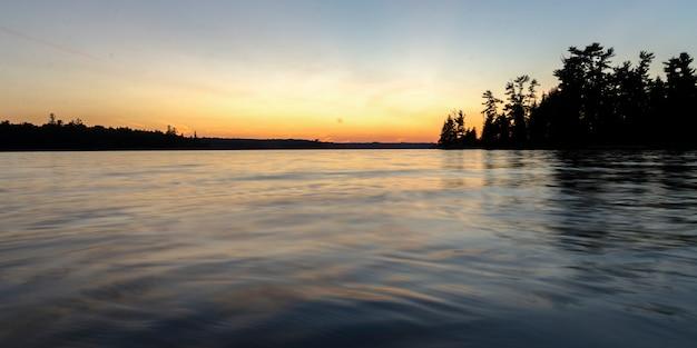 Silueta de árboles en la orilla del lago, lago de los bosques, ontario, canadá