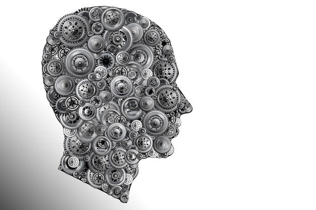 Silueta de cabeza humana con engranajes. idea genial. pensamiento e inteligencia inusuales. pensamiento humano en el mundo moderno. ilustración 3d.