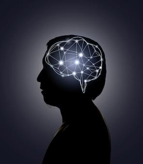 Silueta de cabeza humana con tecnología de línea del cerebro.