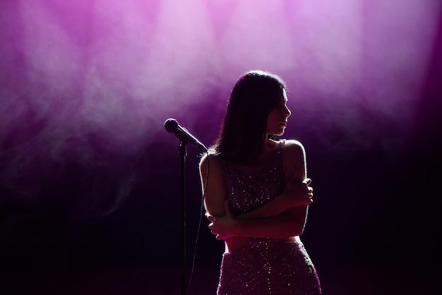 Silueta de cantante en el escenario. fondo oscuro, humo, focos.