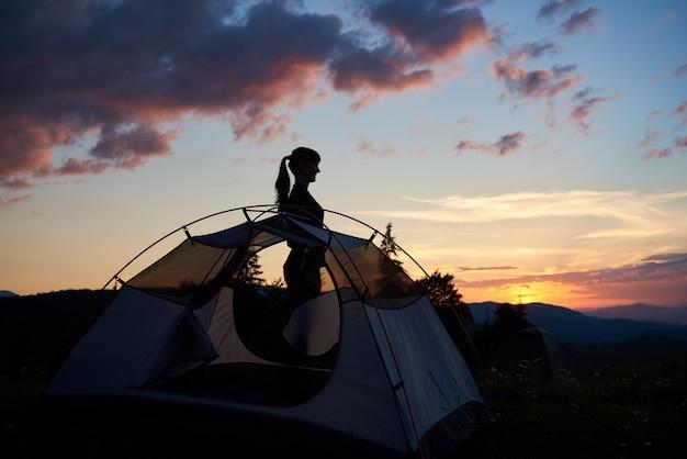 Silueta de una chica atractiva de perfil cerca de la carpa bajo el cielo de la tarde al amanecer