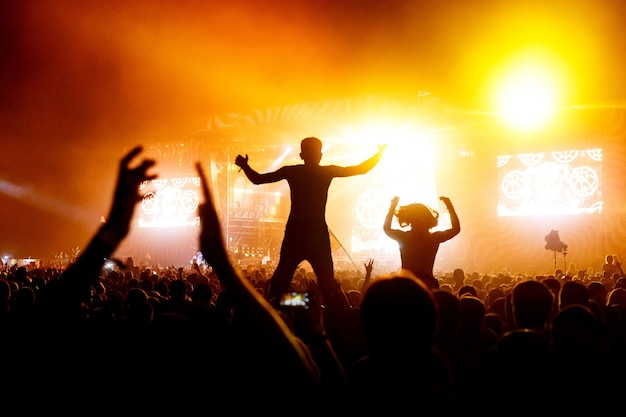 Silueta, concierto, persona, hombre, en, hombros