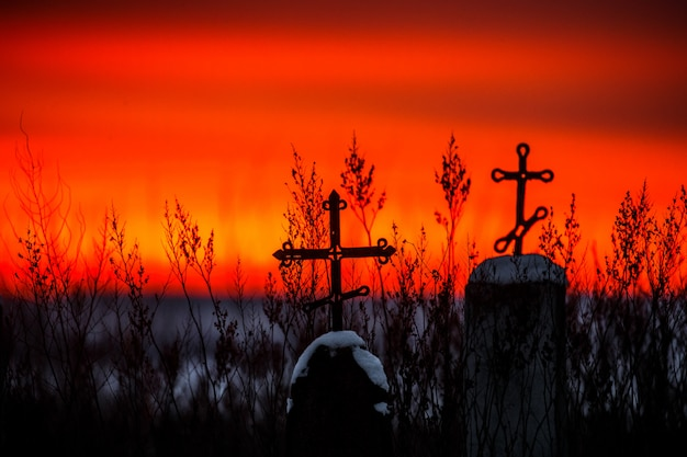 Silueta de la cruz cristiana