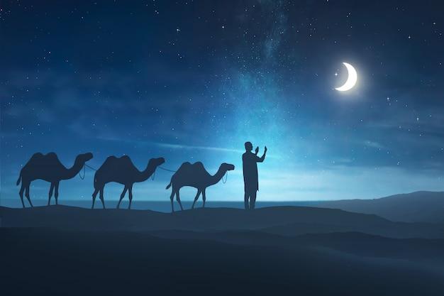 Silueta, de, hombre musulmán, rezando