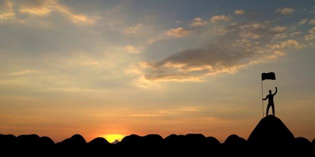 La silueta del hombre que sostiene una bandera en la montaña superior, el cielo y el fondo ligero del sol., 3d rinde