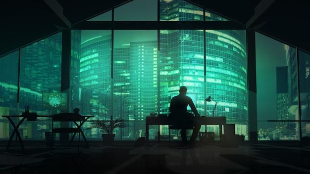 Silueta de un hombre que trabaja en la oficina con paisaje urbano