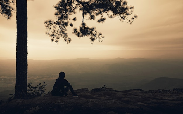 Silueta de hombre solo sentado bajo un gran árbol en la vista a la montaña con niebla en la puesta del sol