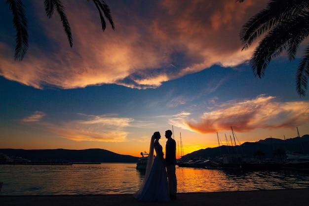 Silueta de una pareja de recién casados ?? en el fondo del sol poniente