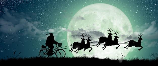 La silueta de santa claus se mueve para montar en sus renos feliz navidad y felices fiestas
