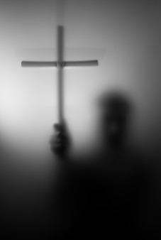 Silueta, de, santo, con, cruz