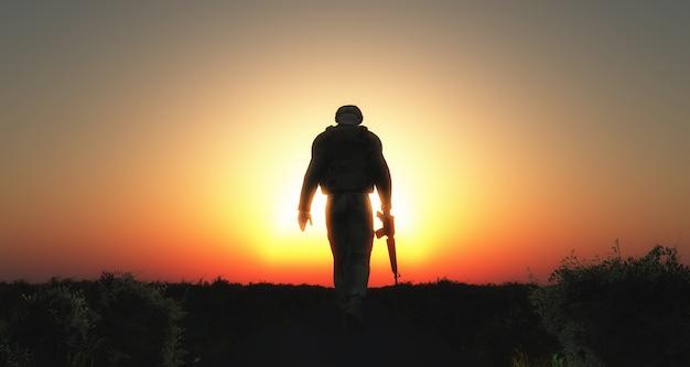 Silueta de soldado caminando