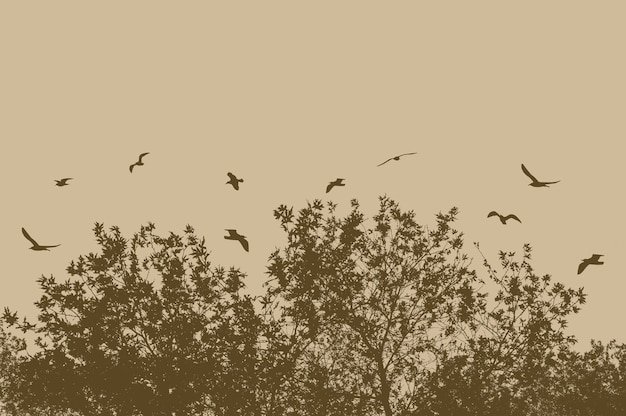 Siluetas de árboles y ramas con pájaros volando sobre un fondo beige
