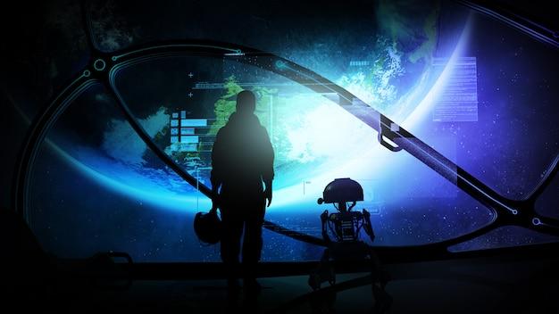 Siluetas de un astronauta y un droide en el ojo de buey de una nave espacial en órbita de la tierra, y datos virtuales frente a ellos.