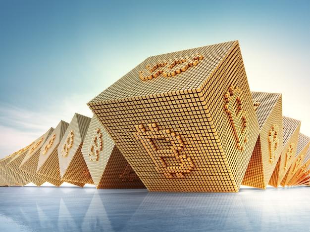 Símbolo de bitcoin en tecnología blockchain y concepto de criptomoneda.