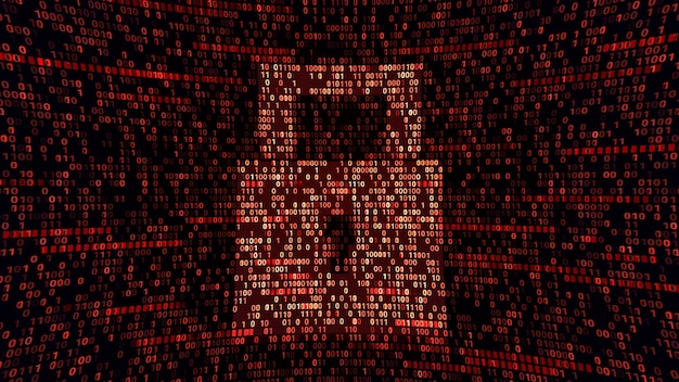 Símbolo de bloqueo de almohadilla de protección total en el ciberespacio de codificación binaria, seguridad de ciberseguridad abstracta, ilustración 3d de tecnología de firewall de hardware