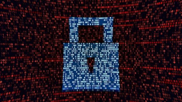 Símbolo de bloqueo de almohadilla de protección total en el ciberespacio de codificación binaria, seguridad de ciberseguridad abstracta, tecnología de firewall de hardware ilustración 3d