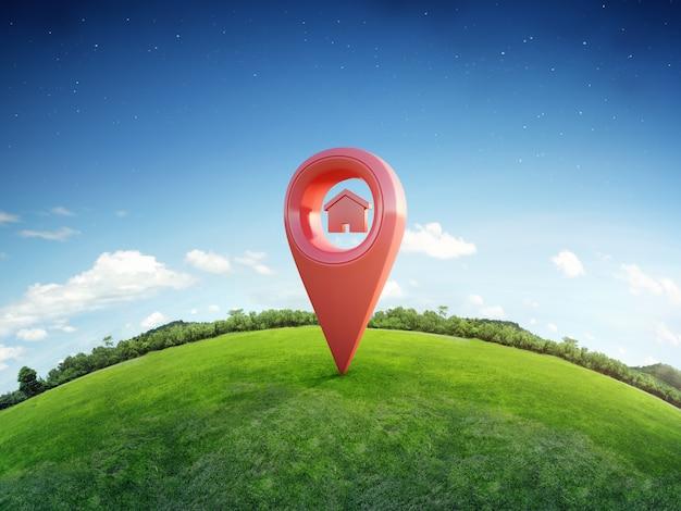 Símbolo de la casa con el icono de pin de ubicación en la tierra y la hierba verde en concepto de inversión inmobiliaria o venta de bienes raíces.