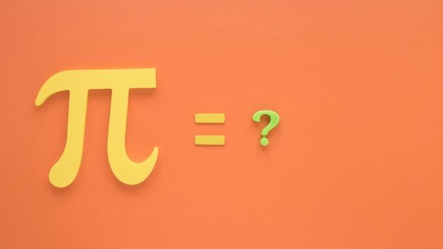 Símbolo de ciencia real pi y signo de interrogación
