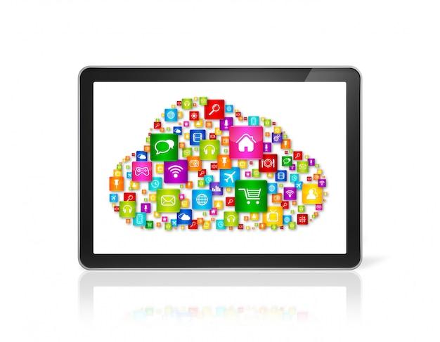 Símbolo de computación en la nube en computadora tablet pc