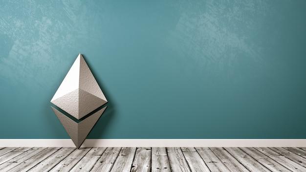 Símbolo de criptomoneda ethereum en la habitación