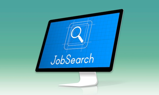 Símbolo de cristal de lupa de búsqueda de empleo