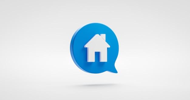 Símbolo de diseño de ilustración de icono de casa o signo de bienes raíces de construcción de casa de elemento gráfico de arte de sitio web residencial aislado sobre fondo blanco con concepto de propiedad simple moderno. representación 3d.