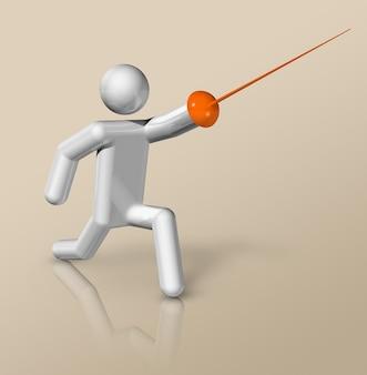 Símbolo de esgrima tridimensional, deportes olímpicos.
