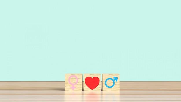 Símbolo femenino y masculino con corazón en cubos de madera, concepto de relación heterosexual