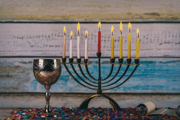 Símbolo de la fiesta judía hanukkah, el festival judío de las luces
