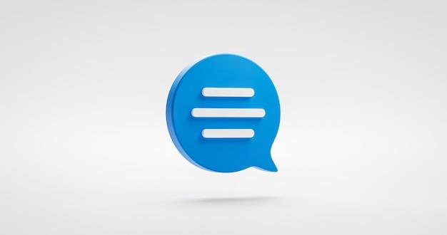 Símbolo de icono de diálogo de discurso de mensaje de burbuja de chat o diseño plano de conversación de tipo de comunicación aislado sobre fondo blanco con conversación de globo de conversación de chat. representación 3d.