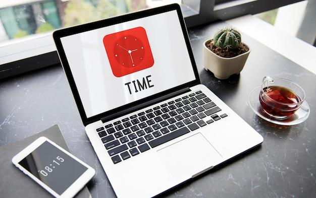 Símbolo de icono de gráficos de reloj de tiempo