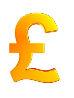 Símbolo de la libra esterlina sobre fondo blanco. ilustración 3d aislada
